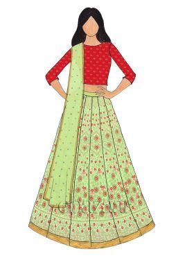 Light Green Embroidered Art Silk Kali Lehenga