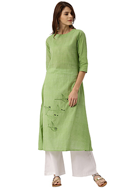 Light Green Embroidered Kurti