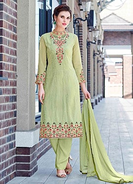 Light Green Embroidered Straight Pant Suit
