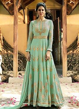 Light Green Georgette Abaya Style Anarkali Suit