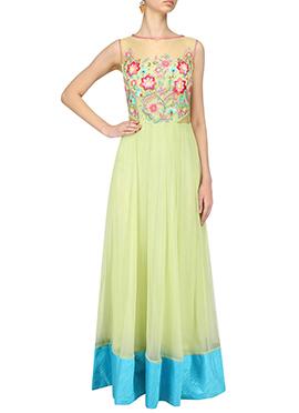 Light Green Georgette Anarkali Gown