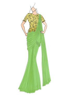 Light Green Georgette Drape Saree with Gold Embroidered Blouse