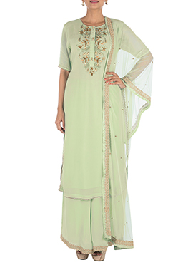 Light Green Georgette Palazzo Suit