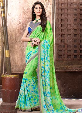 Light Green Georgette Printed Saree