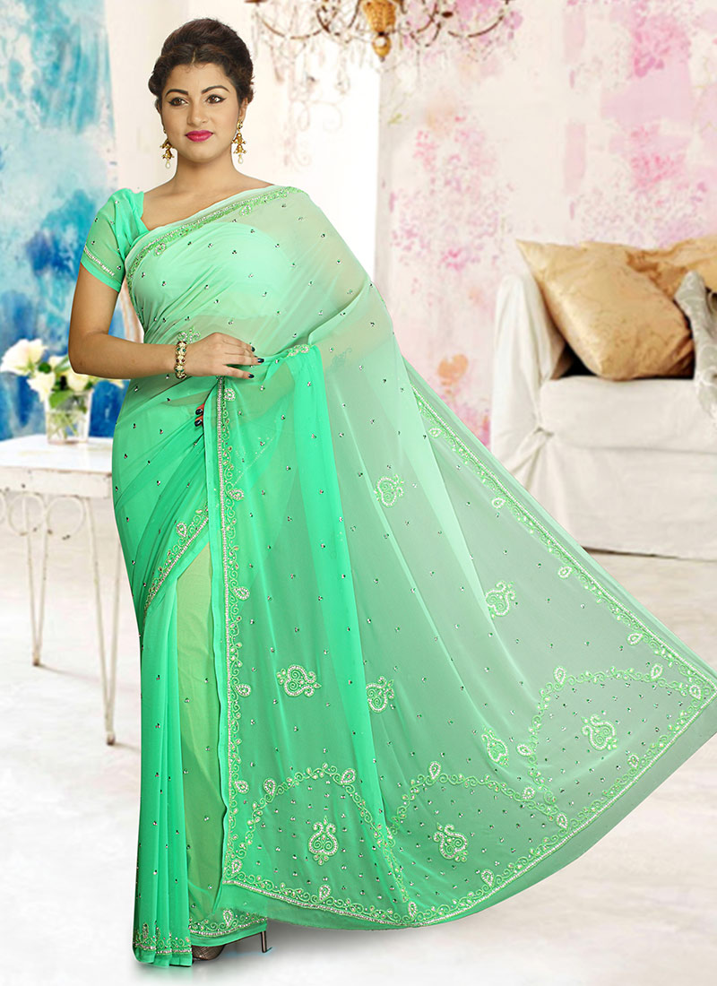 a4b316ee2ca34a Buy Light Green Georgette Saree, Stones , Embroidered , Hand Work ...