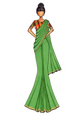 Light Green Georgette Saree with a Multicolored Chanderi Silk Blouse
