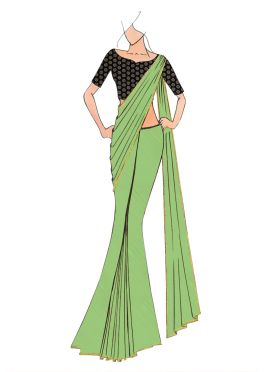 Light Green Georgette saree with Black Art Dupion Silk Blouse