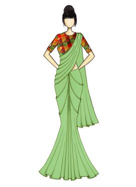 Light Green Georgette Saree with Black Velvet Blouse