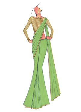 Light Green Georgette Saree With Gold Beige Blouse