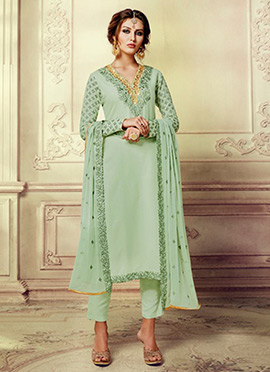 Light Green Georgette Straight Pant Suit