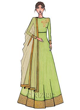Light Green High Neck Embroidered Anarkali Suit