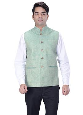 Light Green Jute Silk Nehru Jacket