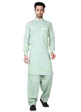 Light Green Linen Cotton Pathani Set