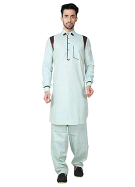 Light Green Linen Cotton Pathani Set