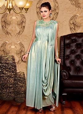 Light Green Lycra Draped Gown