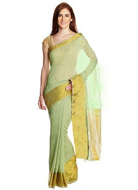 Light Green Mangalagiri Blended Cotton saree