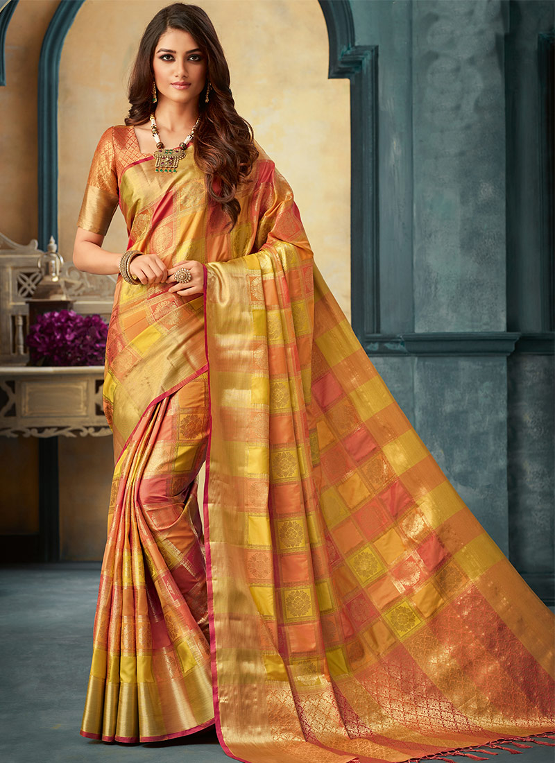 803bb1e3308b02 Buy Light Green N Light Orange Art Silk Zari Woven Saree