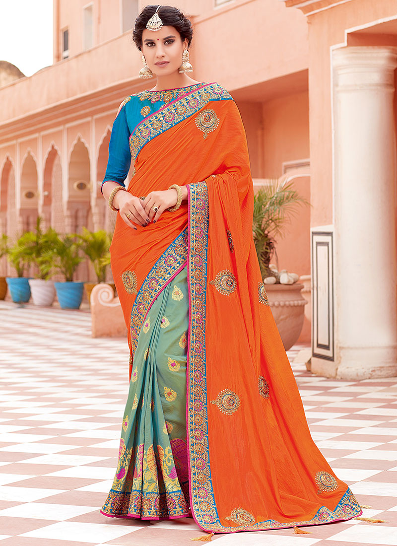 43b79ca83b Buy Light Green N Orange Embroidered Half N Half Saree, Beads ...