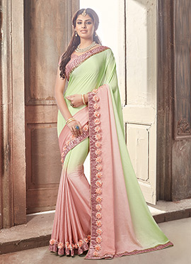 Light Green N Peach Chiffon Saree