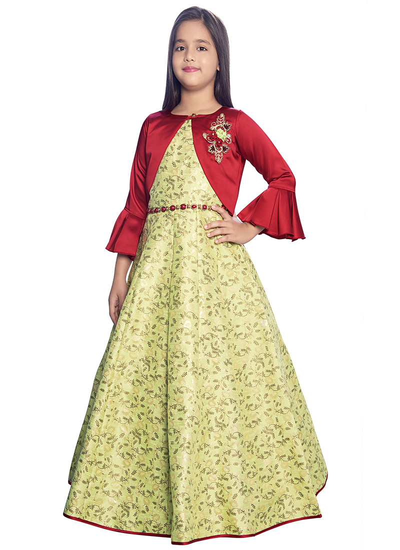 696869f3138bf Buy Light Green N Red Embroidered Kids Gown, Embroidered, girls ...