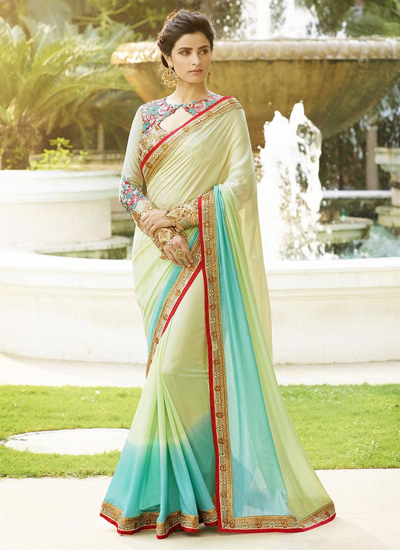0837a0158cb1d Buy Light Green N Sky Blue Silk Saree