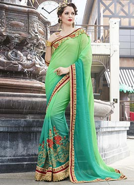 Light Green N Teal Green Georgette Saree
