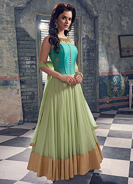 Light Green N Turquoise Net Anarkali Suit