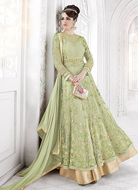 Light Green Net Abaya Style Anarkali Suit