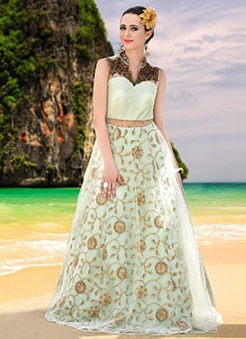 Light Green Net Anarkali Gown