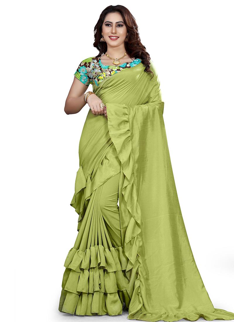 9b5d5d313d Buy Light Green Plain Ruffled Saree, Printed , Digital Print, sari Online  ...