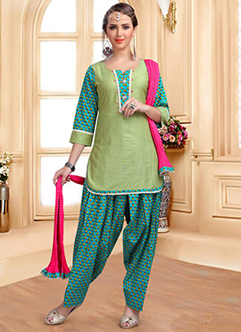 Light Green Printed Salwar Suit