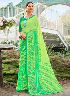 Light Green Printed Saree