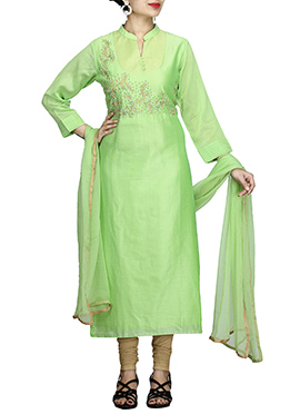 Light Green Pure Chiffon Churidar Suit