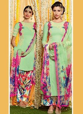 Light Green Pure Cotton Satin Patiala Suit