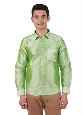 Light Green Pure Raw Silk Shirt