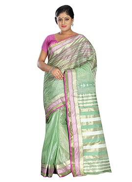 Light Green Pure Silk Tangail Saree