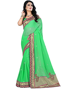 Light Green Pure Viscose Border Saree