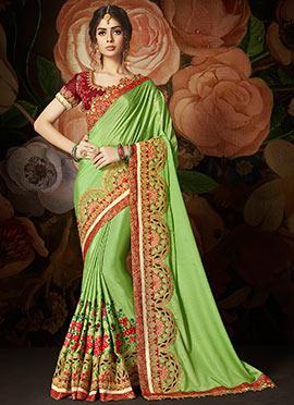 Light Green Satin Saree