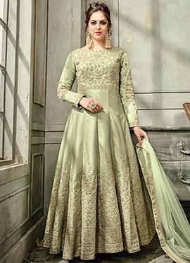 Light Green Satin Silk Anarkali Gown