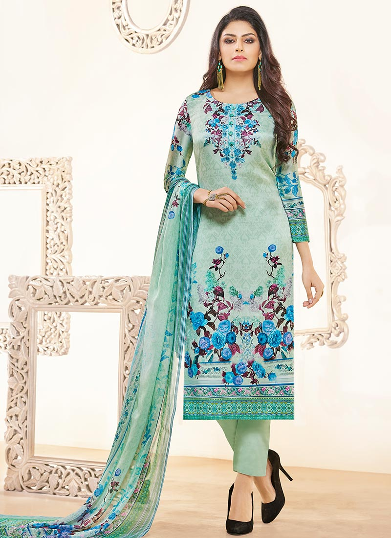 Buy Light Green Satin Straight Pant Suit, Printed, straight pant ...