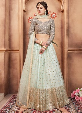 Light Green Sequins Embroidered A Line Lehenga