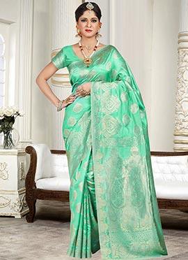 Light Green Silk Cotton Zari Weaved Saree