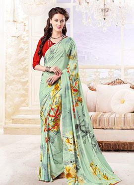 Light Green Silk Crepe Saree