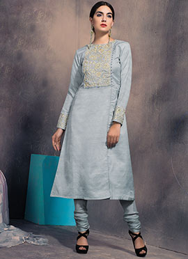 Light Grey Art Silk Straight Pant Suit