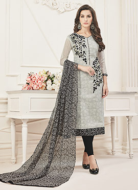 Light Grey Chanderi Art Silk Churidar Suit