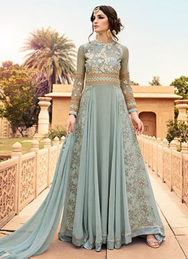 Light Grey Embroidered Floor Length Anarkali Suit