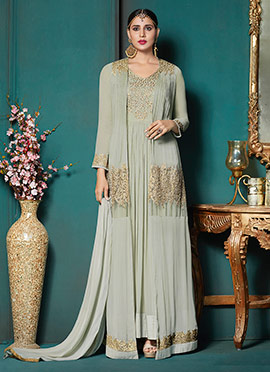 Light Grey Embroidered Jacket Style Anarkali Suit