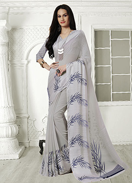 Light Grey Georgette Saree