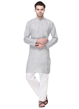 Light Grey Khadi Cotton Kurta