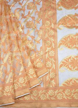 Light Grey N Orange Pure Handloom Cotton Saree